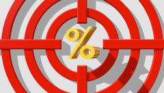 Target appear around percent sign Stock Footage