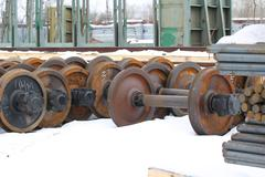 Railcar wheels - stock photo