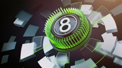 Countdown Leader Graphic 9 - 0. with alpha matte transition. - stock footage