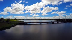 Aerial View from the Bridge of the Lago Paranoa in Brasilia the capital of Brazi Stock Footage