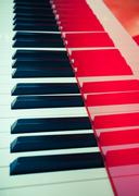 background of red piano - stock photo