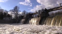Stock Video Footage of Weir On Morava River, Hydro-electric Power Station (Czech Republic)