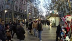 People at the crowded La Rambla street at the heart of Barcelona, Spain. Stock Footage