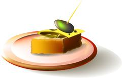 A plate and a sandwich with cheese and olives - stock illustration
