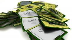 Animated falling and bouncing realistic CPUs against white background - stock footage