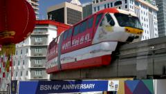 KUALA LUMPUR - Monorail with chinese lantern. 4K Stock Footage