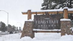 Flagstaff Arizona in Winter Stock Footage