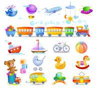 Variety of childrens toys Stock Illustration
