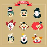 Vintage Circus, freak show icons and hipster characters Stock Illustration