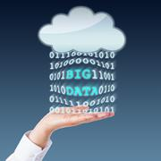 Big Data Transferring Between Cloud And Open Palm Stock Photos
