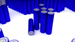 Animated plain (stripped from label) blue AA batteries 2 Stock Footage