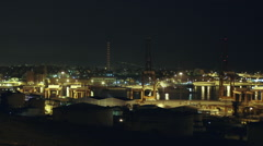 Wide establishing shot, night,Keratsini shipyard/port, Athens Greece Stock Footage
