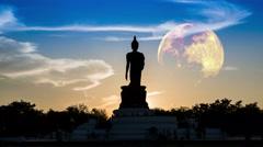 Buddha moon Stock Footage