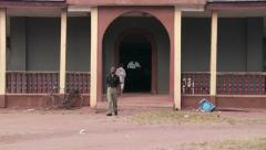 Entrance church Nigeria with police Arkistovideo