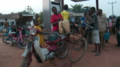 Waiting at gas station Nigeria Stock Footage