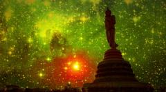 Beautiful Stars Behind Buddha Statue At Night 4k Stock Footage