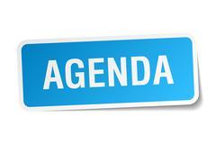 Stock Illustration of agenda blue square sticker isolated on white