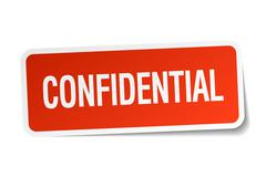 confidential red square sticker isolated on white - stock illustration