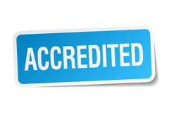 accredited blue square sticker isolated on white - stock illustration