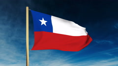 Chile flag slider style. Waving in the win with cloud background animation Stock Footage