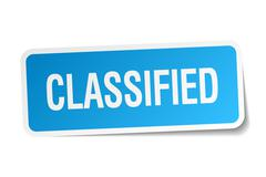 Classified blue square sticker isolated on white Stock Illustration