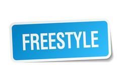 freestyle blue square sticker isolated on white - stock illustration
