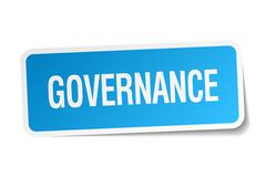 Stock Illustration of governance blue square sticker isolated on white