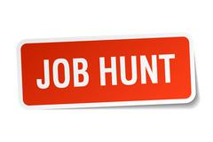 Job hunt red square sticker isolated on white Stock Illustration
