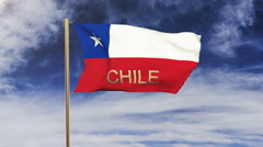 Chile flag with title waving in the wind. Looping sun rises style.  Animation Stock Footage