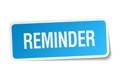 Reminder blue square sticker isolated on white Stock Illustration