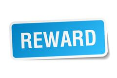 reward blue square sticker isolated on white - stock illustration