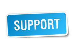 support blue square sticker isolated on white - stock illustration