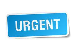 Urgent blue square sticker isolated on white Stock Illustration