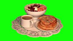 Full – cream ice with fruit, thick pancakes and white coffee Stock Footage