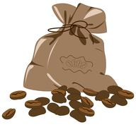 coffee beans and bag - stock illustration