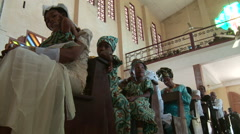 African women attending church service Stock Footage