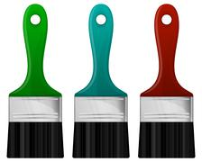 Paint brush in 3 color - stock illustration