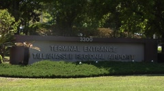 Airport-3  Entrance sign to Tallahassee Regional Airport Stock Footage