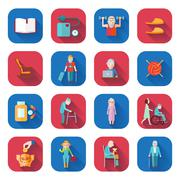 Senior Lifestyle Flat Icons Stock Illustration