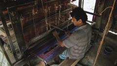 Man weaves traditional cloth with the old loom in Tangail, Bangladesh. Stock Footage