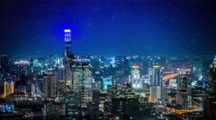 Bangkok City at star night Stock Footage