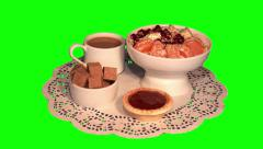 Ice cream with fruit, white coffee, cane sugar, tartlet with jam Stock Footage