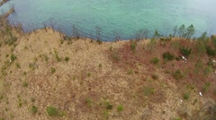 Lake in the apls, aerial view austria, Almsee, almtal Stock Footage