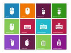 Mouse and num lock icons on color background - stock illustration