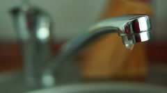 Leaky Faucet, Slow Motion.Concept Of Water Wastage Stock Footage