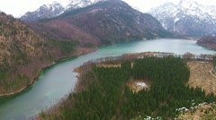 Almsee, almtal, lake in the apls, aerial view austria, Stock Footage