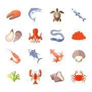 Sea Food Icon Flat Piirros
