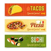 Food Banners Set - stock illustration