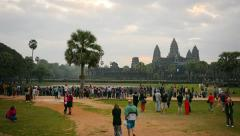 ANGKOR, CAMBODIA - Wide angle shot of tourists  Stock Footage