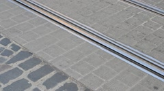 Rails and tram Stock Footage